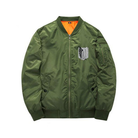 Green Attack On Titan bomber jacket front view