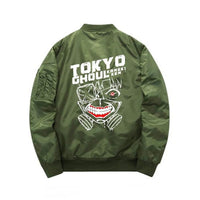 Green Tokyo Ghoul bomber jacket back view