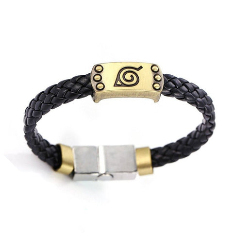 Naruto Bronze-Plated Leather Weave Bracelet - Otakupicks