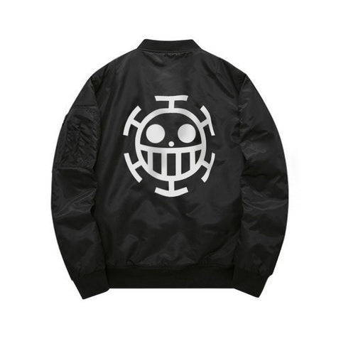 Black One Piece Heart Pirates Bomber Jacket