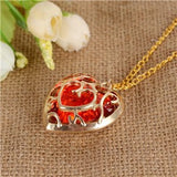 The Legend of Zelda Red Heart Crystal Gold Necklace