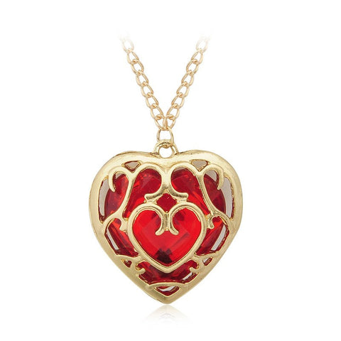 The Legend of Zelda Red Heart Crystal Gold Necklace - Otakupicks