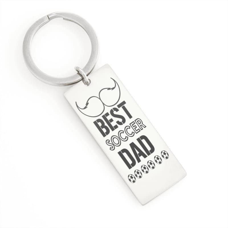 Keyring Best Soccer Dad - Stainless Steel Rectangle Keychain