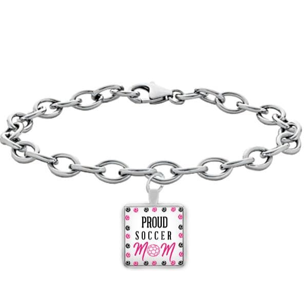 Proud Soccer Mom Square Bracelet