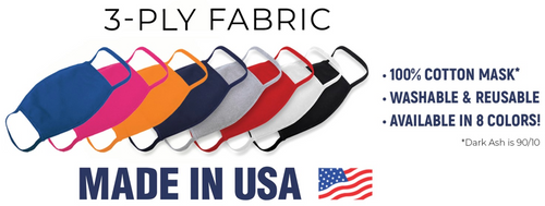 Item #5 - USA MADE / Quick Delivery:  Reusable Cloth Face Mask - Package of 100 Masks MOQ.  BULK PRICING AVAILABLE.