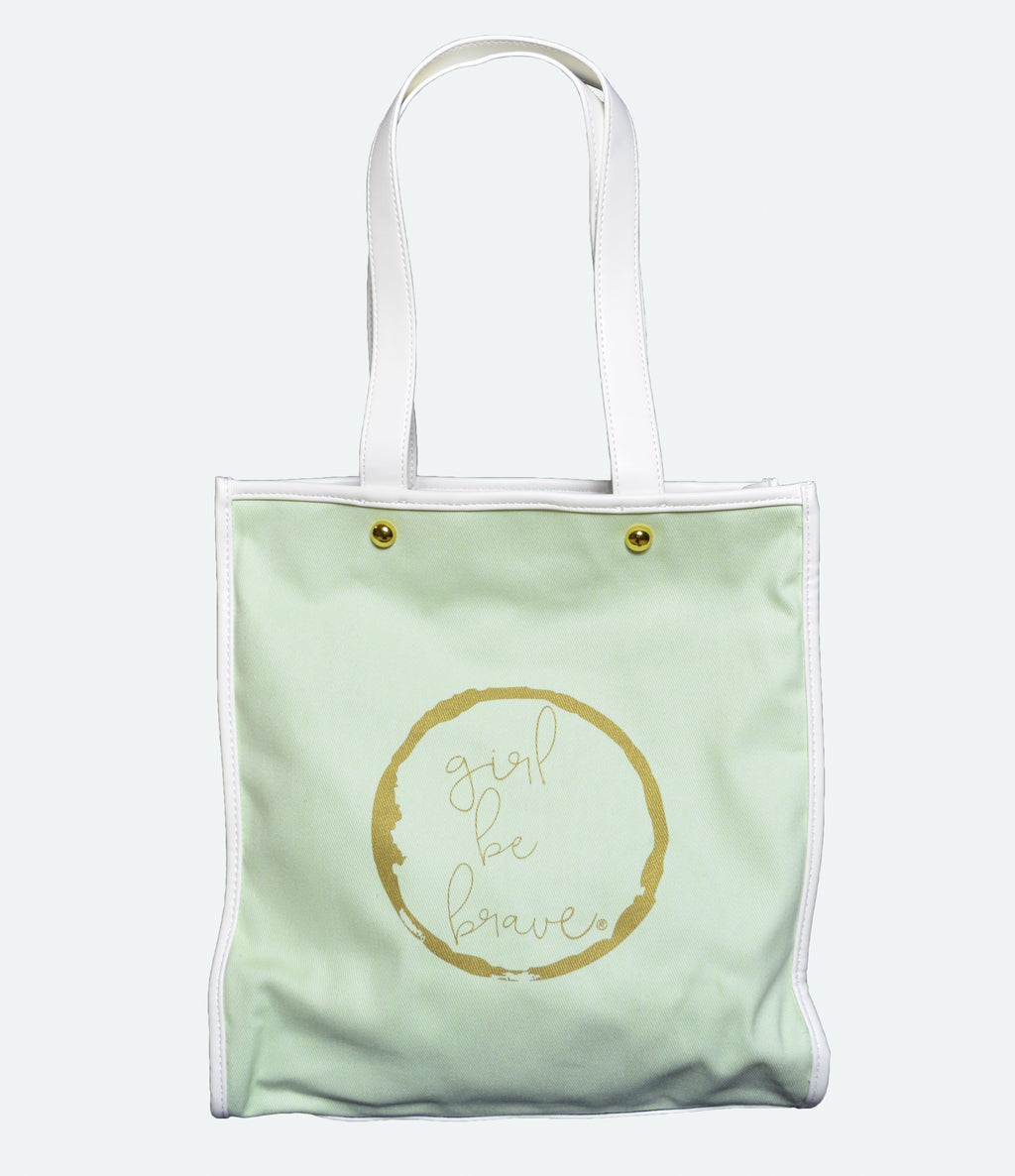 Girl Be Brave Green Tote Bag