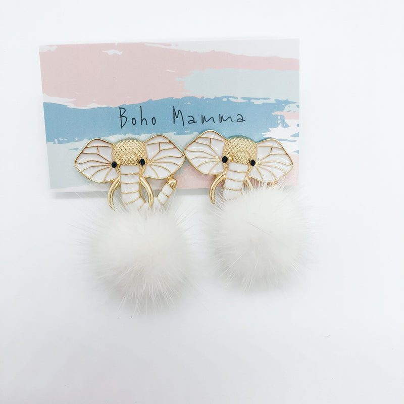Boho Mamma White Elephant Fur Earrings