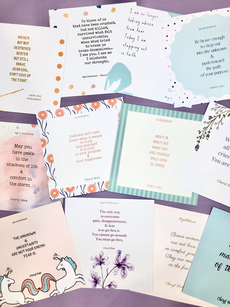 Girl Be Brave Quote Cards with Envelopes Set of 12