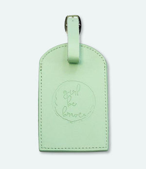Girl Be Brave Genuine Leather Embossed Luggage Tag