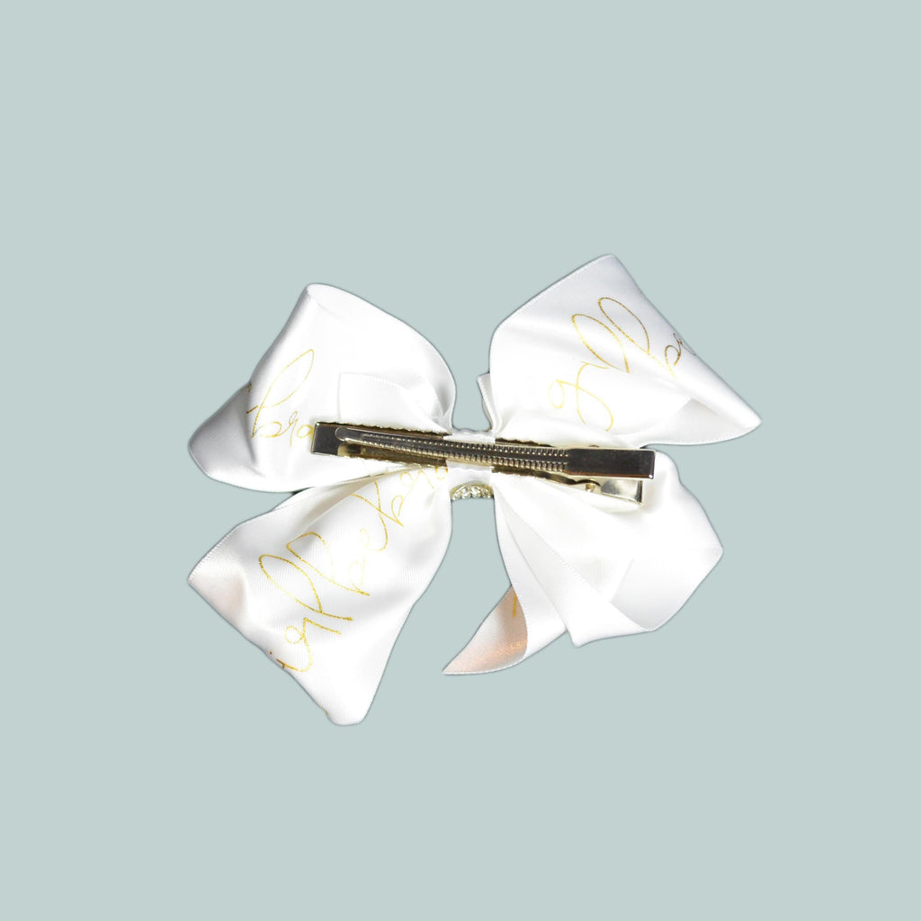 Girl Be Brave White Logo Bow