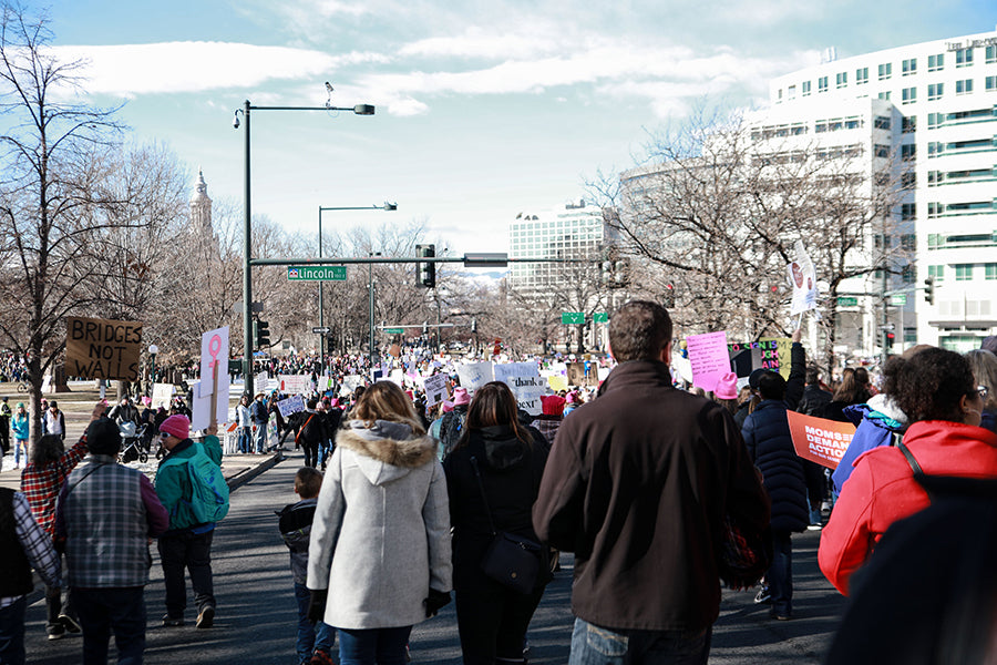 womens march in denver crowd shot