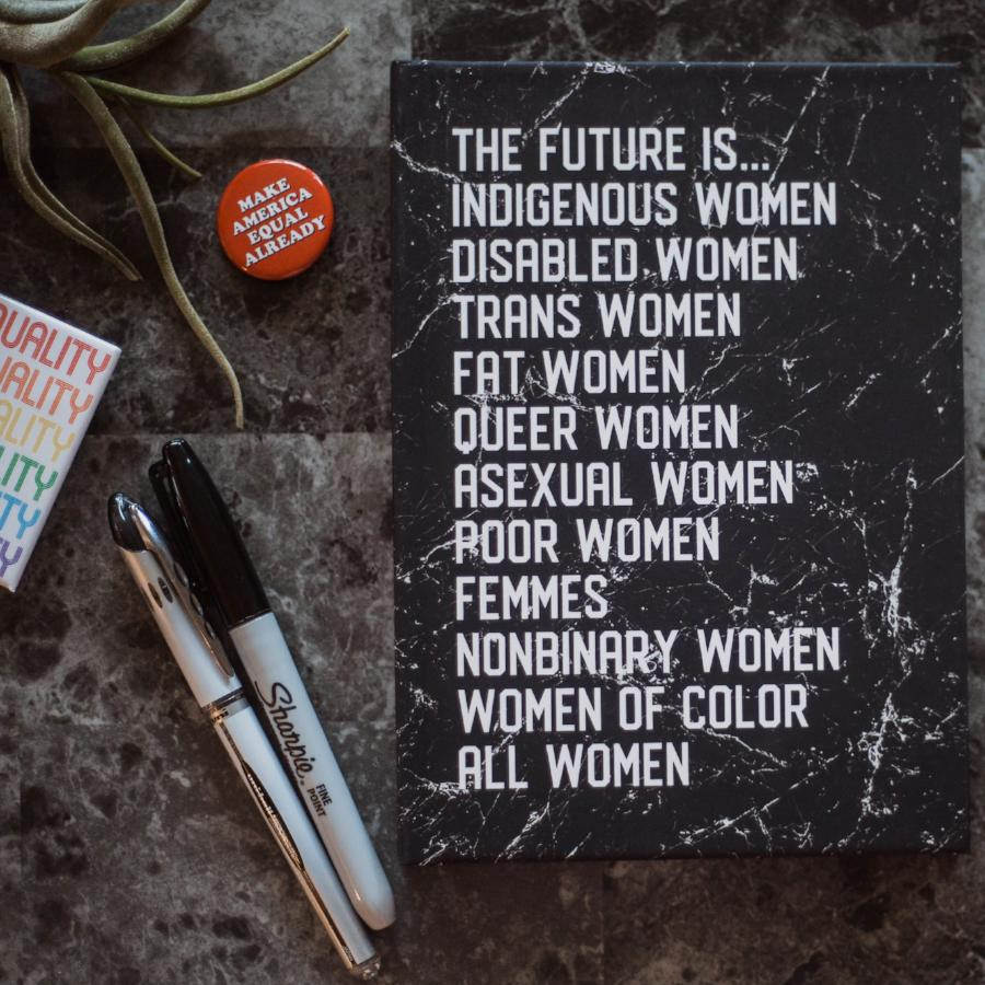Cute Feminist T Shirt The Future is Hardcover Notebook - Everyday Unicorns