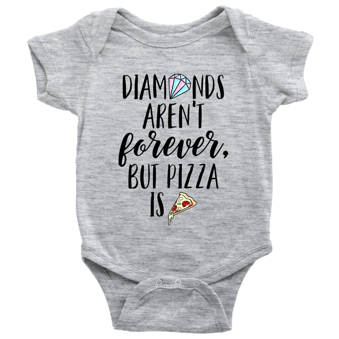 Cute Feminist T Shirt Diamonds Aren't Forever But Pizza Is Baby Bodysuit, Infant Tee, Toddler Tee, and Kids Tee - Everyday Unicorns