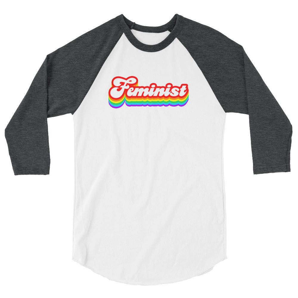 Cute Feminist T Shirt Rainbow Feminist Baseball Tee 3/4 sleeve raglan shirt - Everyday Unicorns