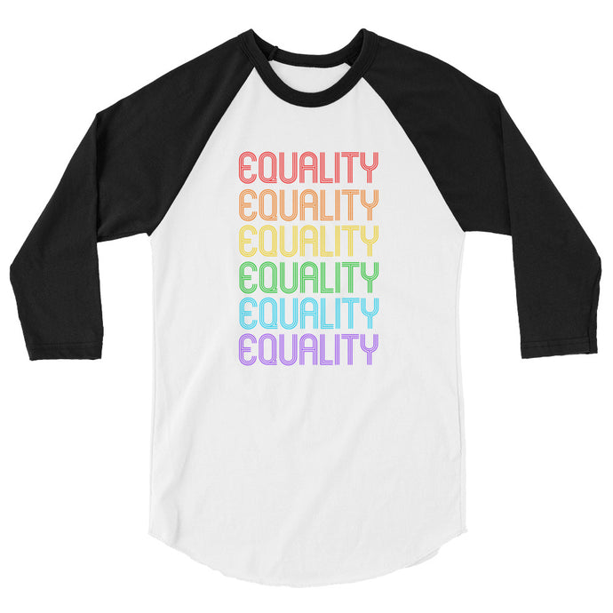 Cute Feminist T Shirt Rainbow Retro Equality Shirt 3/4 sleeve raglan - Everyday Unicorns