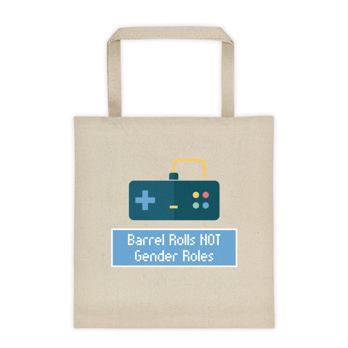 Cute Feminist T Shirt Barrel Rolls NOT Gender Roles Tote Bag - Everyday Unicorns