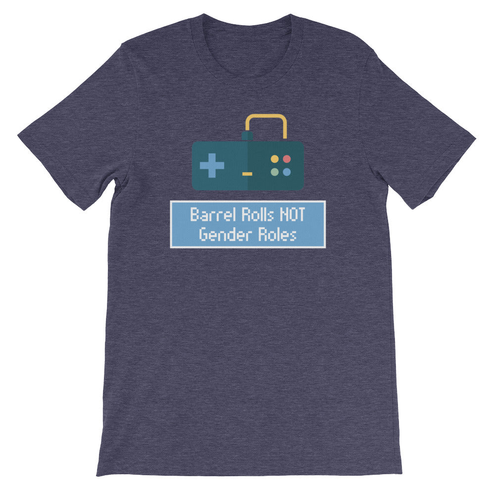 Cute Feminist T Shirt Barrel Rolls not Gender Roles Short-Sleeve Unisex T-Shirt - Everyday Unicorns