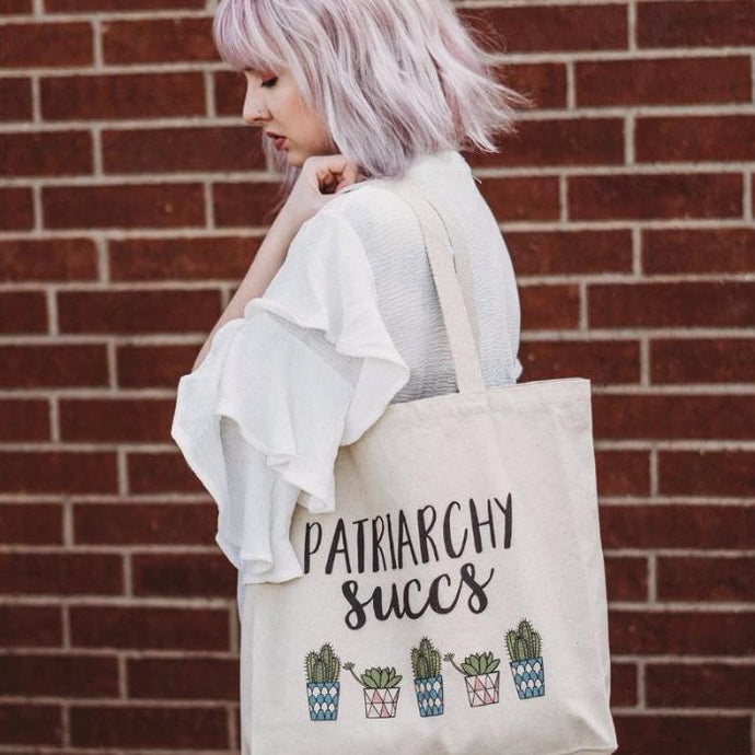 Cute Feminist T Shirt Patriarchy Succs Tote Bag - Everyday Unicorns