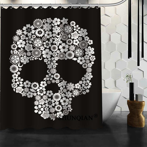 JLS™Dark Gray Skull Curtain