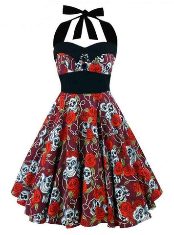 Sexy Floral Skull Casual Dress
