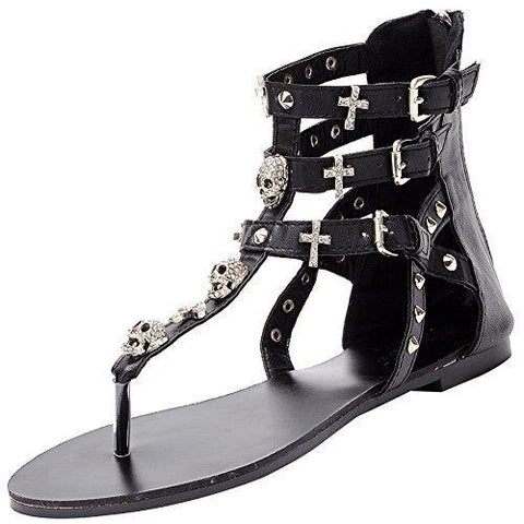Womens Bohemian Skull Rhinestone T-Strap Gladiator Ankle High Zip Flat Beach Thong Sandals