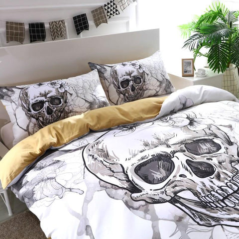 JLS™3D Flower Sugar Skull White Bedding Set