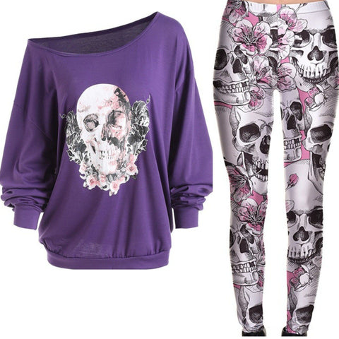Purple Floral Skulls & Roses Outfit