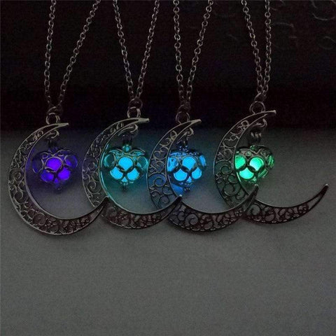 Moon and Star Glow-in-the-dark Pendant Necklace