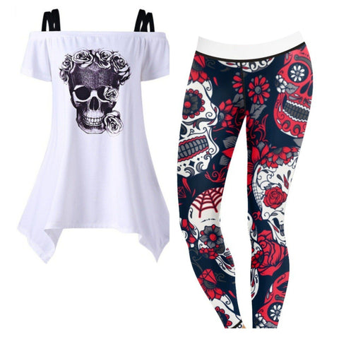 Women's Red Floral Sugar Skulls Outfit