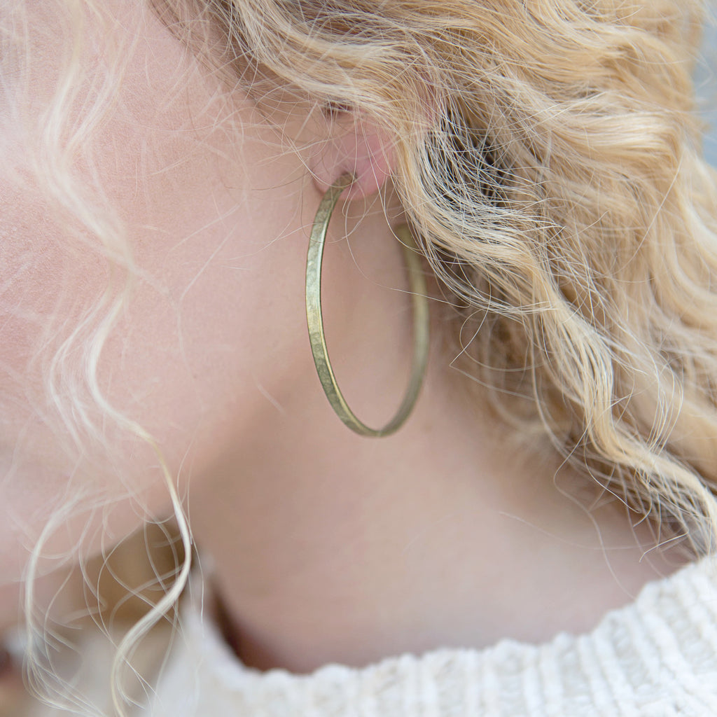 Brass Earrings - Hammered Hoops
