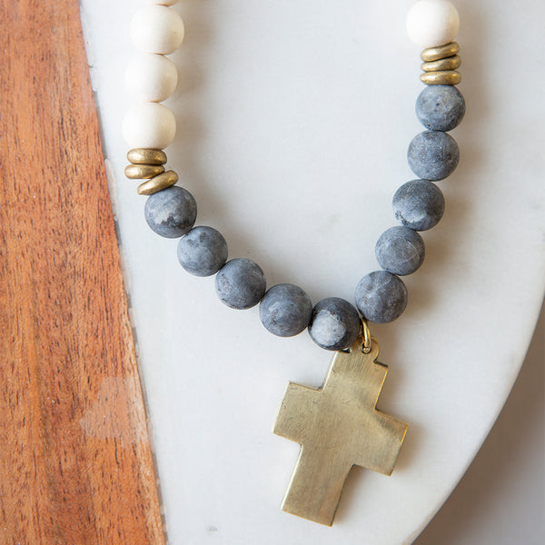 Gemstone Cross Necklace-Labradorite