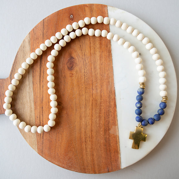 Gemstone Cross Necklace-Lapis Lazuli