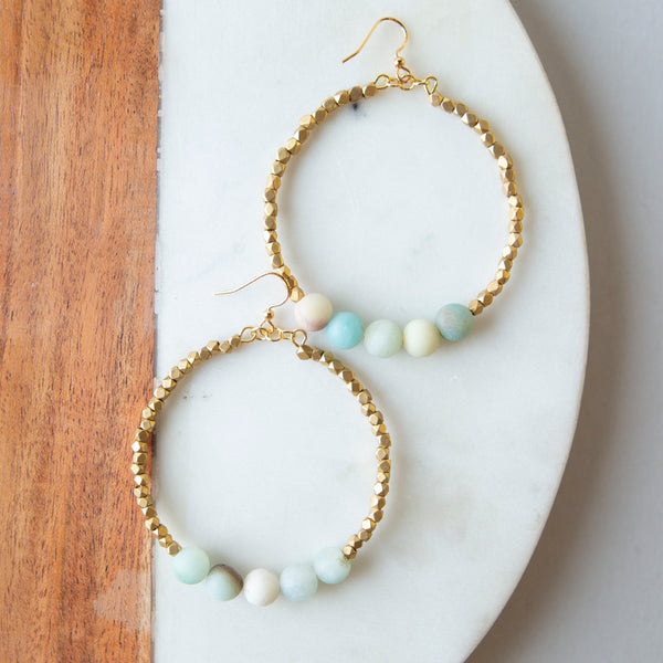 Gemstone Golden Row Earrings