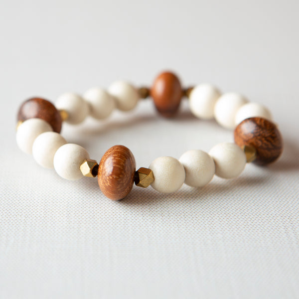 Abacus Bracelet-Brown + White