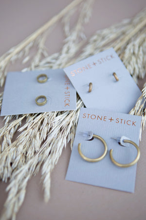 Brass Earrings - Baby Hoops