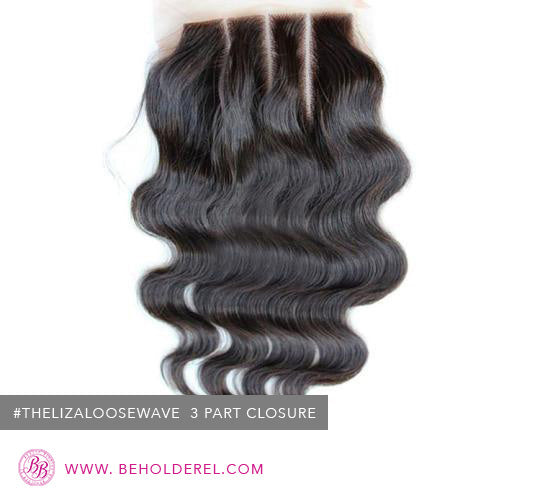 Malaysian Loose Wave<br>3 Part<br>Lace Closure (The Liza Loose Wave 3 Part Lace Closure)