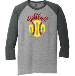 3/4 Sleeve Raglan Softball Mom Glitter Tee
