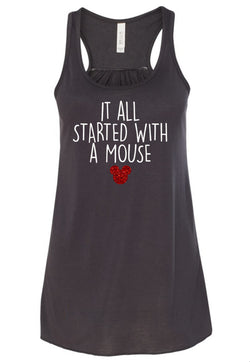 It All Started with a Mouse Glitter Ladies Flowy Tank