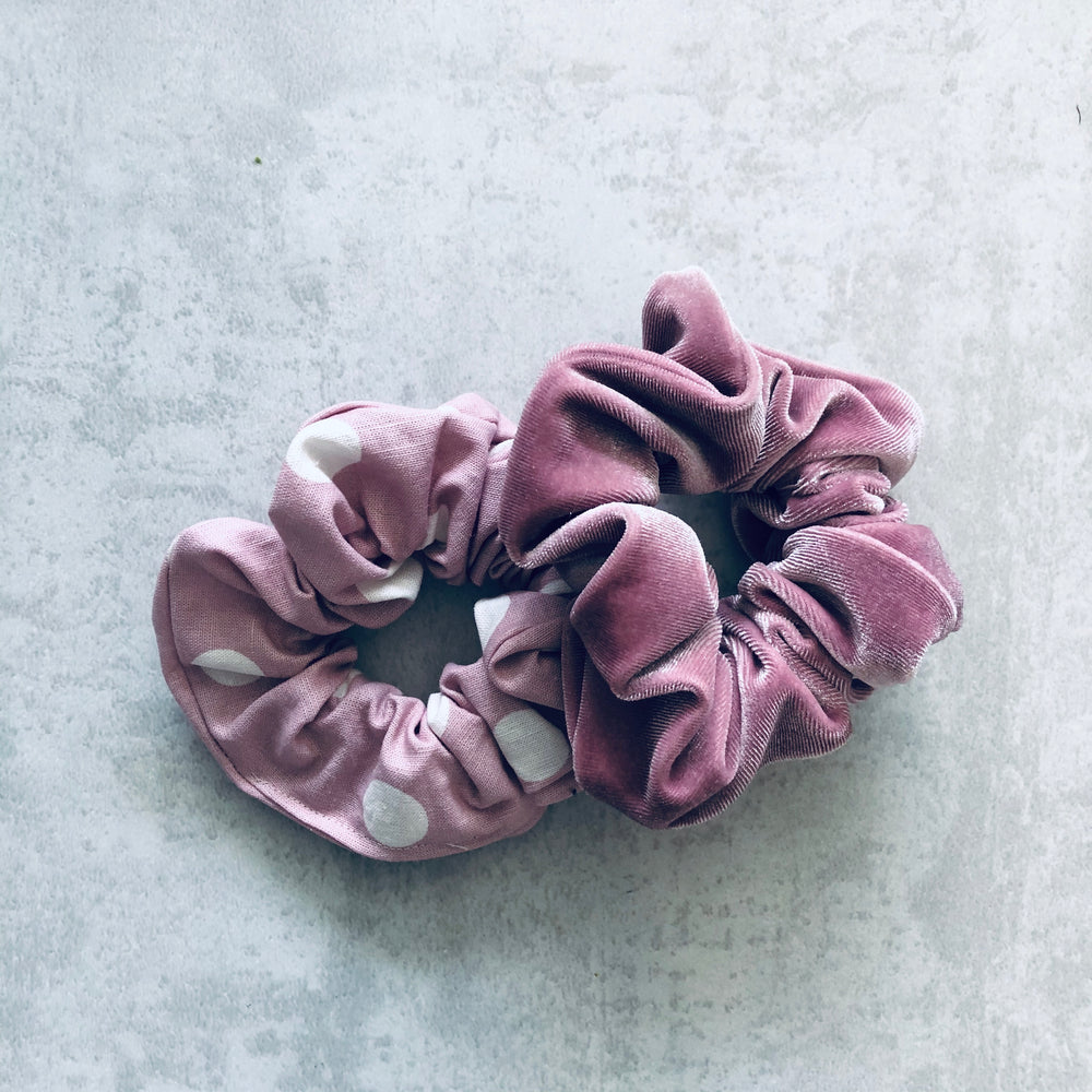 Load image into Gallery viewer, Hers & Mine,Cotton Scrunchie Blush Spot, NZ Stockist, House Of Hair, Pleasant Point