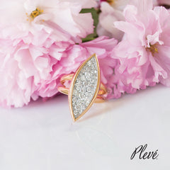 Pleve Ice Marquis Pink Gold and White Diamond Shank Ring