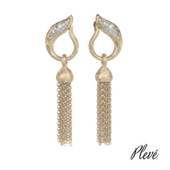 Ice Archer Tassel Clutch Back Earring Drop with Natural White Diamonds