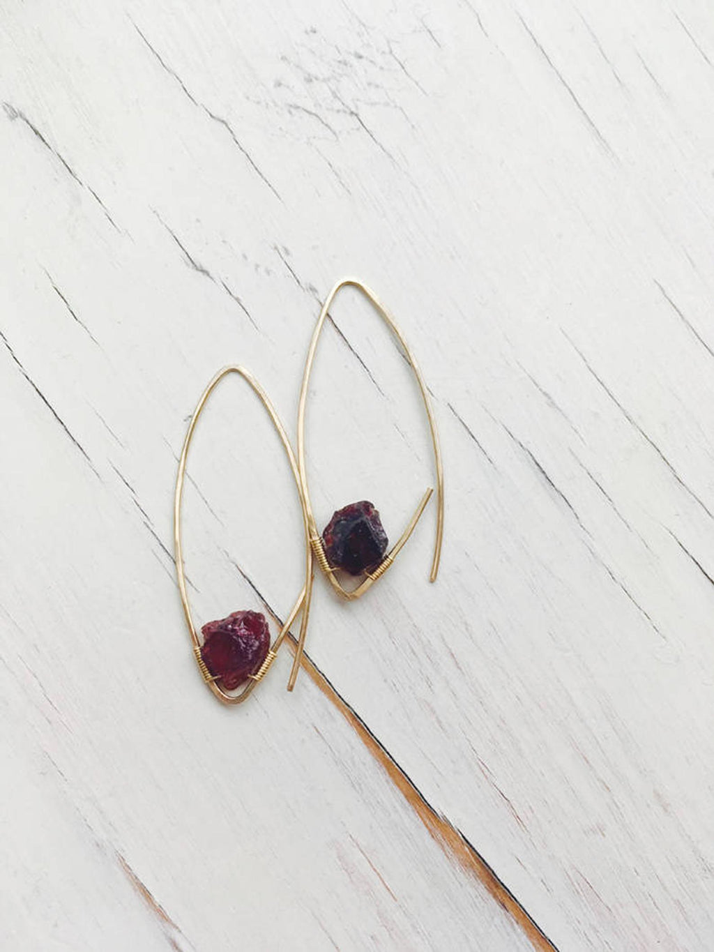 Raw Garnet Endless Hoop