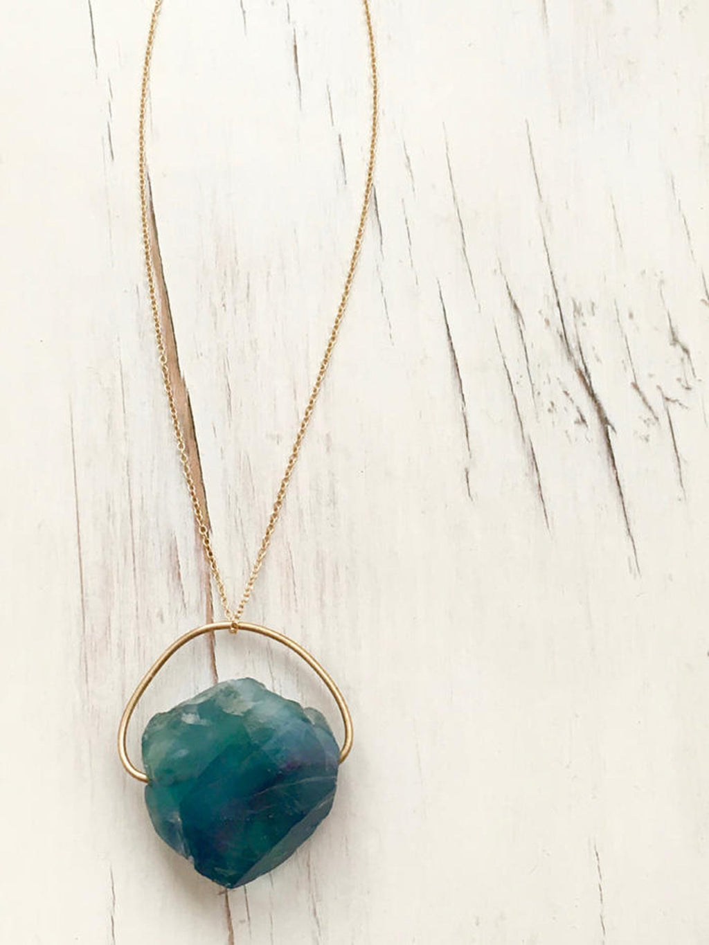 Raw Fluorite Pendant Necklace