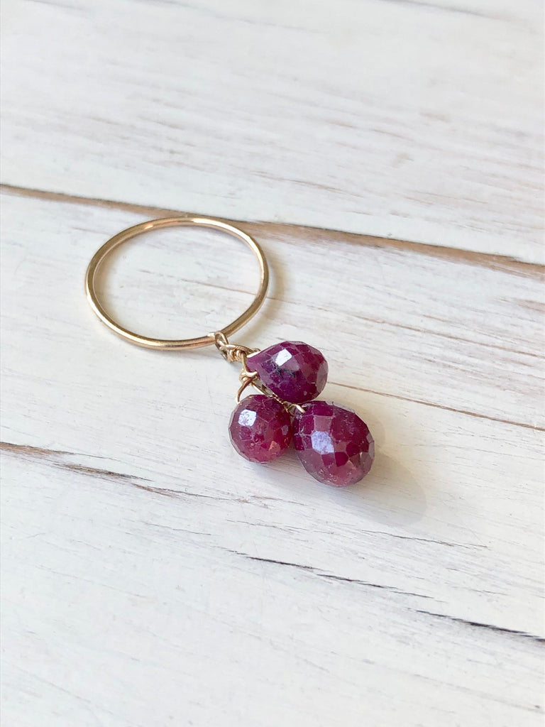 Ruby Teardrop Dangle Ring