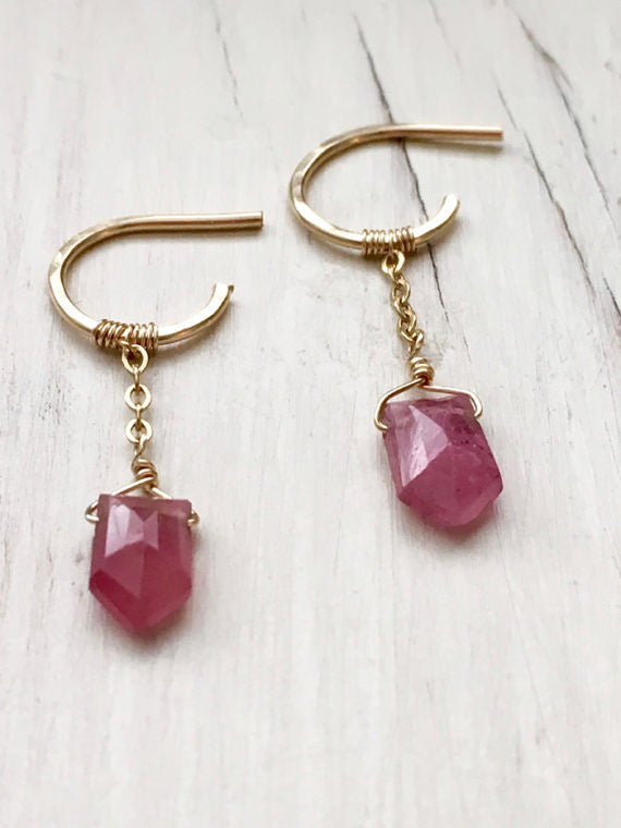 Pink Sapphire Baby Hoops