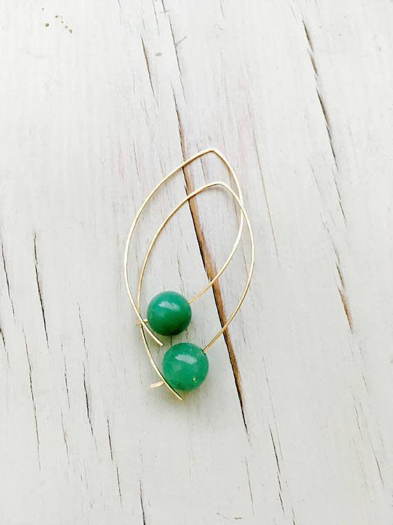 Chrysoprase Marquise Hoop