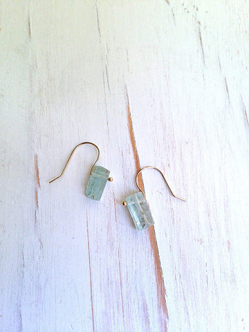 Aquamarine Raw Shard Earrings