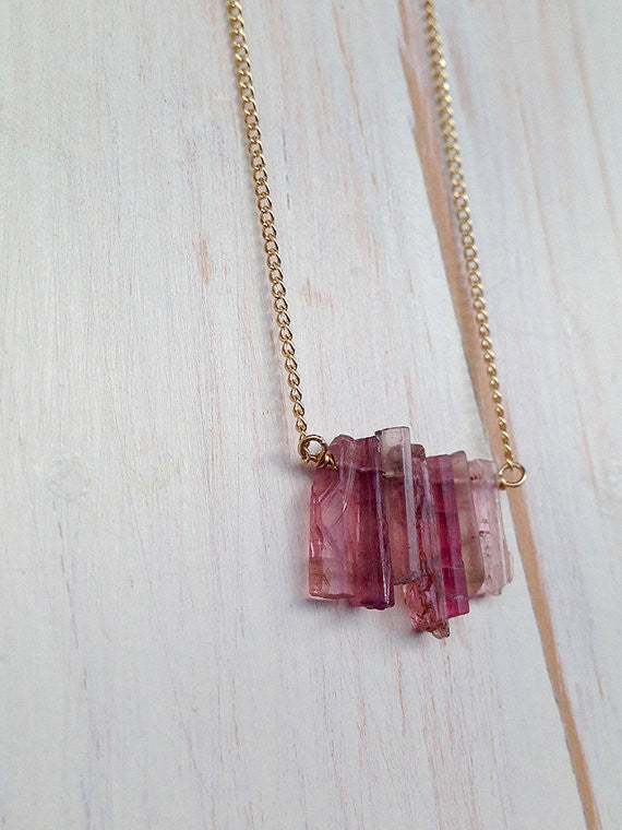 Pink Tourmaline Raw Shard Necklace