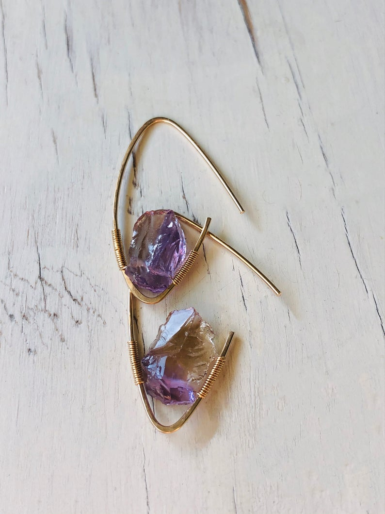 Ametrine Raw Hoops
