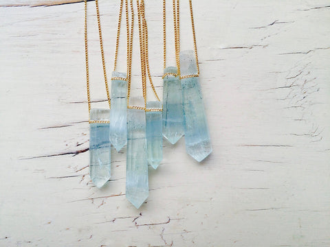 Aquamarine Crystal Pendant Necklace